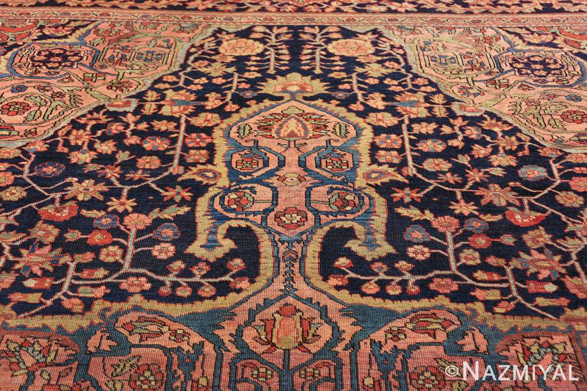 antique navy background farahan sarouk persian rug 49473 tiara Nazmiyal