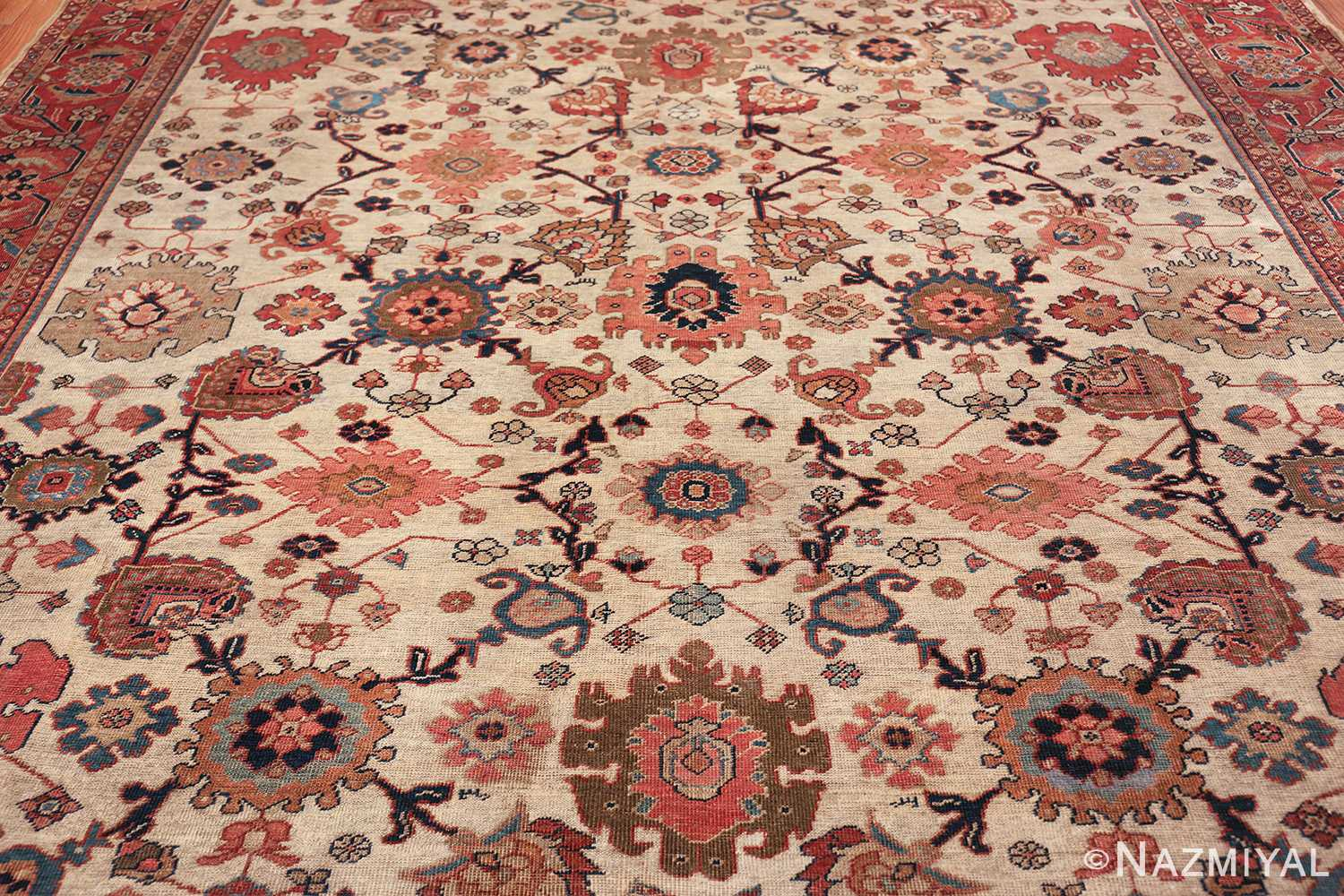 ivory background antique sultanabad persian rug 49467 all Nazmiyal