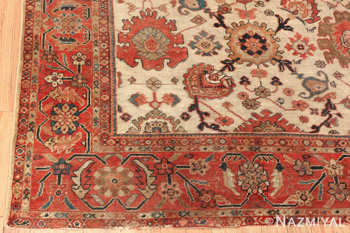 ivory background antique sultanabad persian rug 49467 corner Nazmiyal