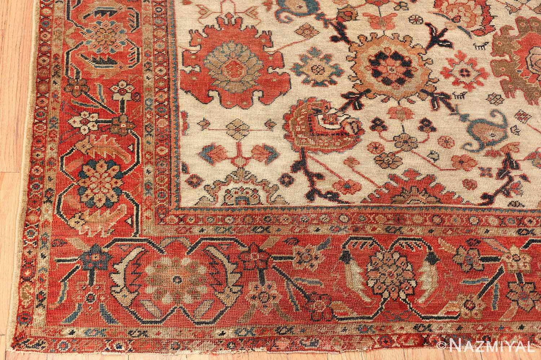 ivory background antique sultanabad persian rug 49467 corner Nazmiyal