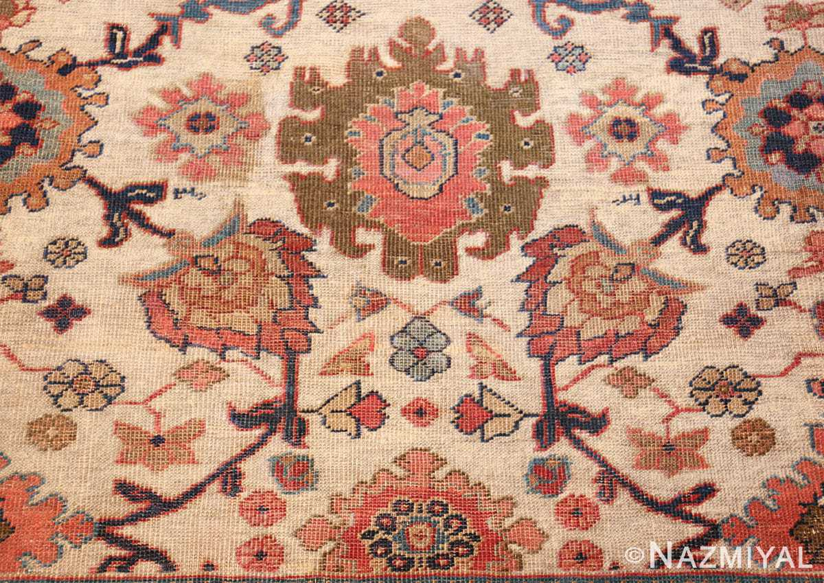 ivory background antique sultanabad persian rug 49467 flowers Nazmiyal