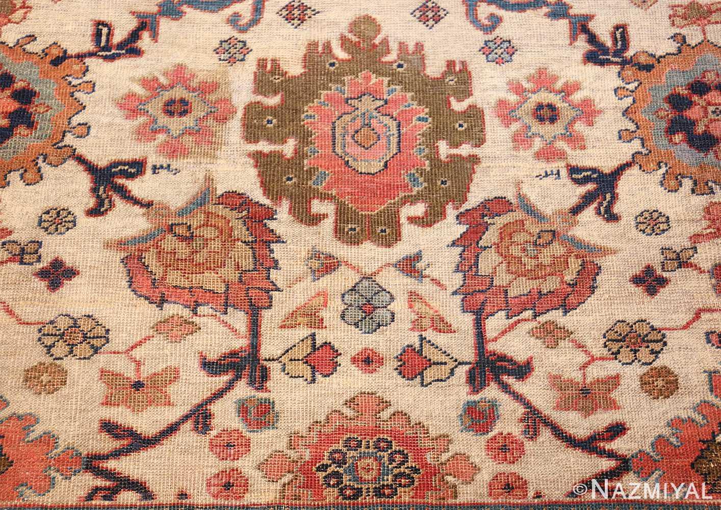 ivory background antique sultanabad persian rug 49467 flowers Nazmiyal