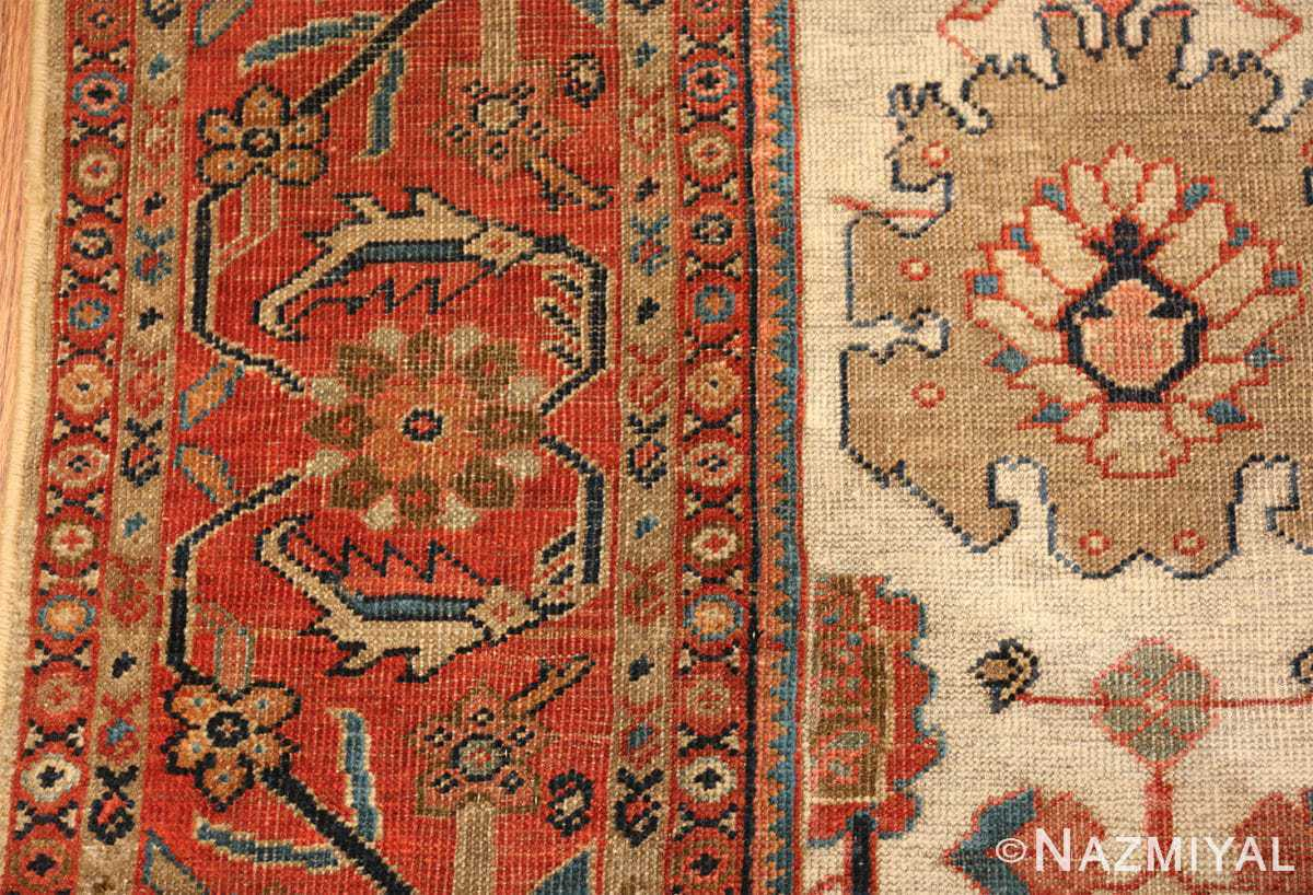 ivory background antique sultanabad persian rug 49467 part Nazmiyal