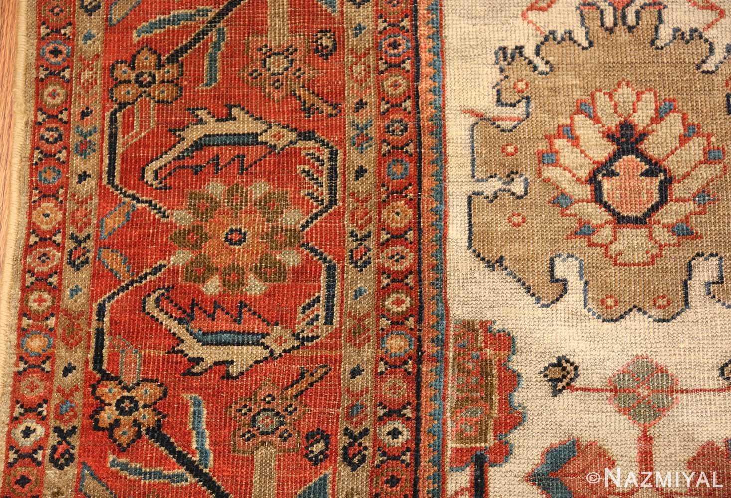 ivory background antique sultanabad persian rug 49467 part Nazmiyal