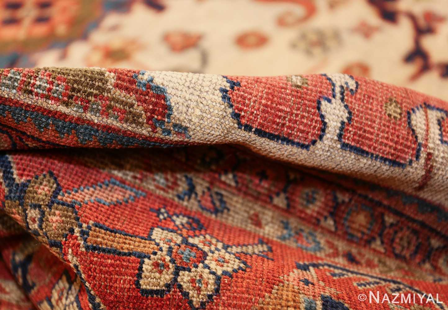 ivory background antique sultanabad persian rug 49467 pile Nazmiyal