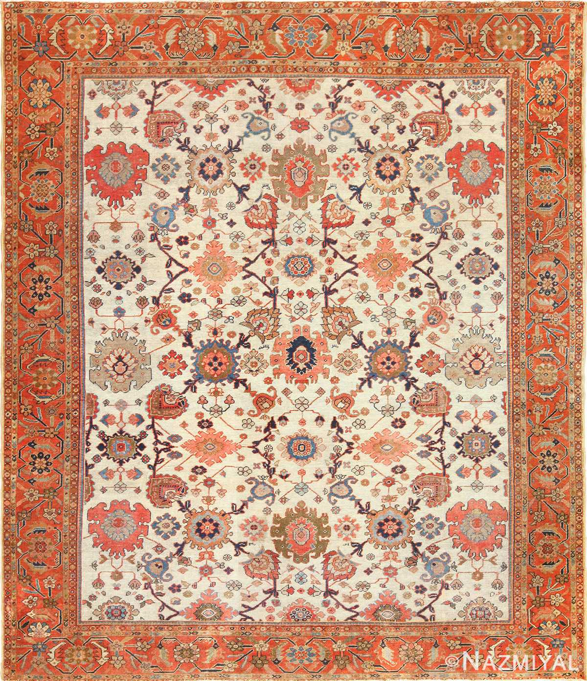 Vintage Persian Rugs: Ivory Background Antique Persian Sultanabad Rug 49467