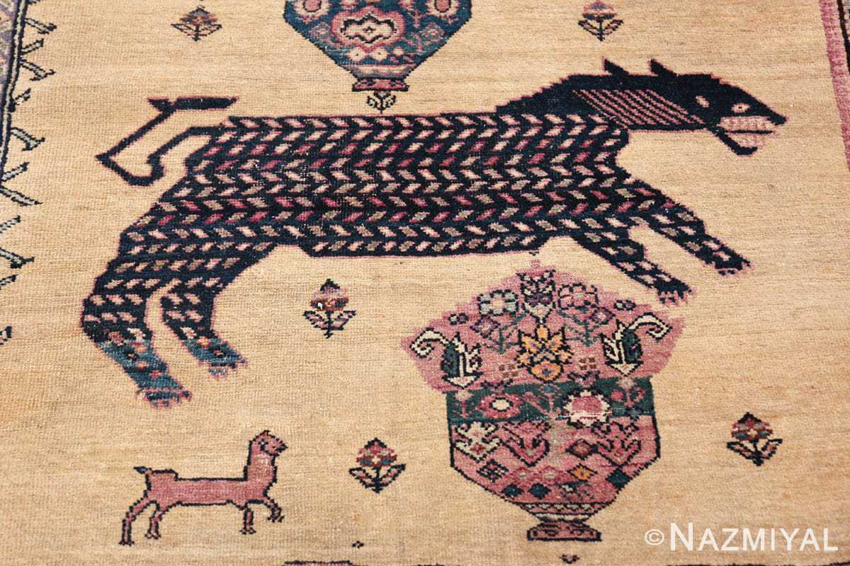 large animal motif antique farahan persian rug 49516 black Nazmiyal