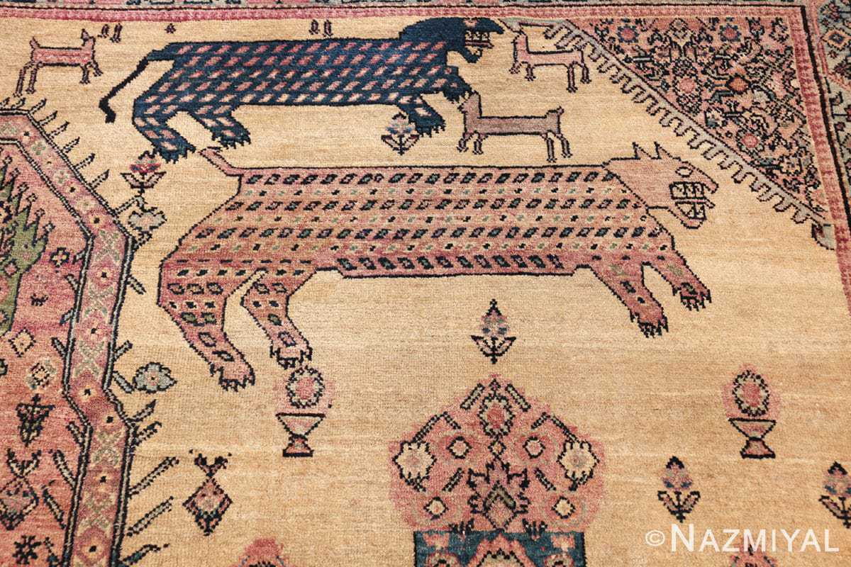 large animal motif antique farahan persian rug 49516 double Nazmiyal
