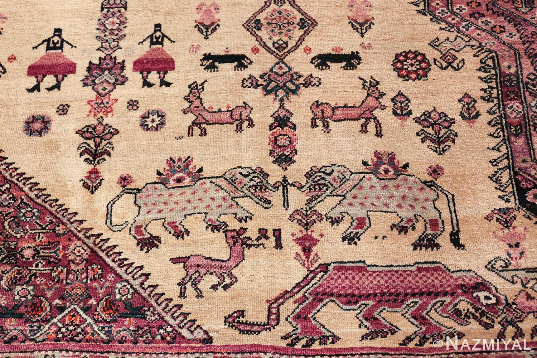 large animal motif antique farahan persian rug 49516 elephant Nazmiyal