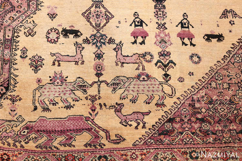 large animal motif antique farahan persian rug 49516 left side Nazmiyal