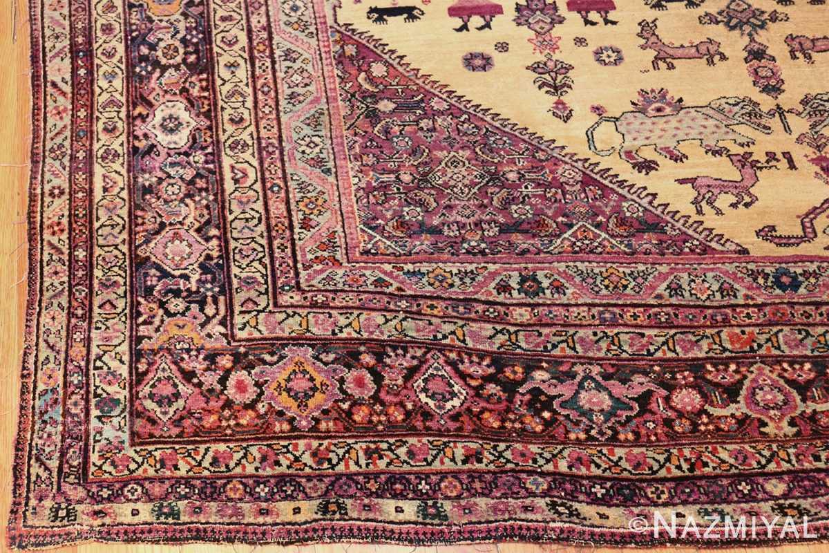 large animal motif antique farahan persian rug 49516 margin Nazmiyal