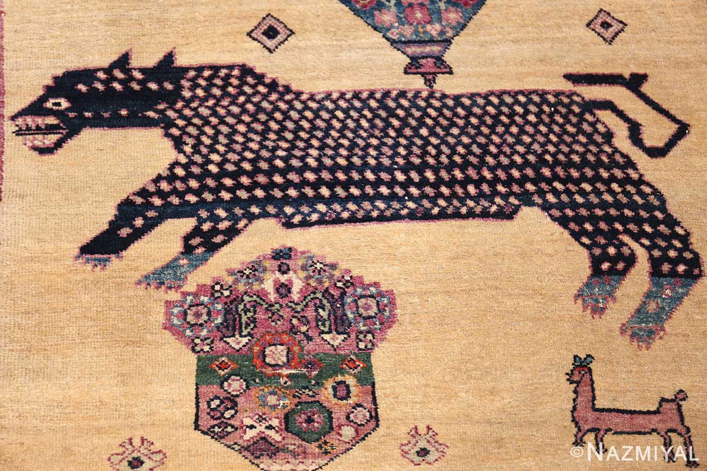large animal motif antique farahan persian rug 49516 navy panther Nazmiyal