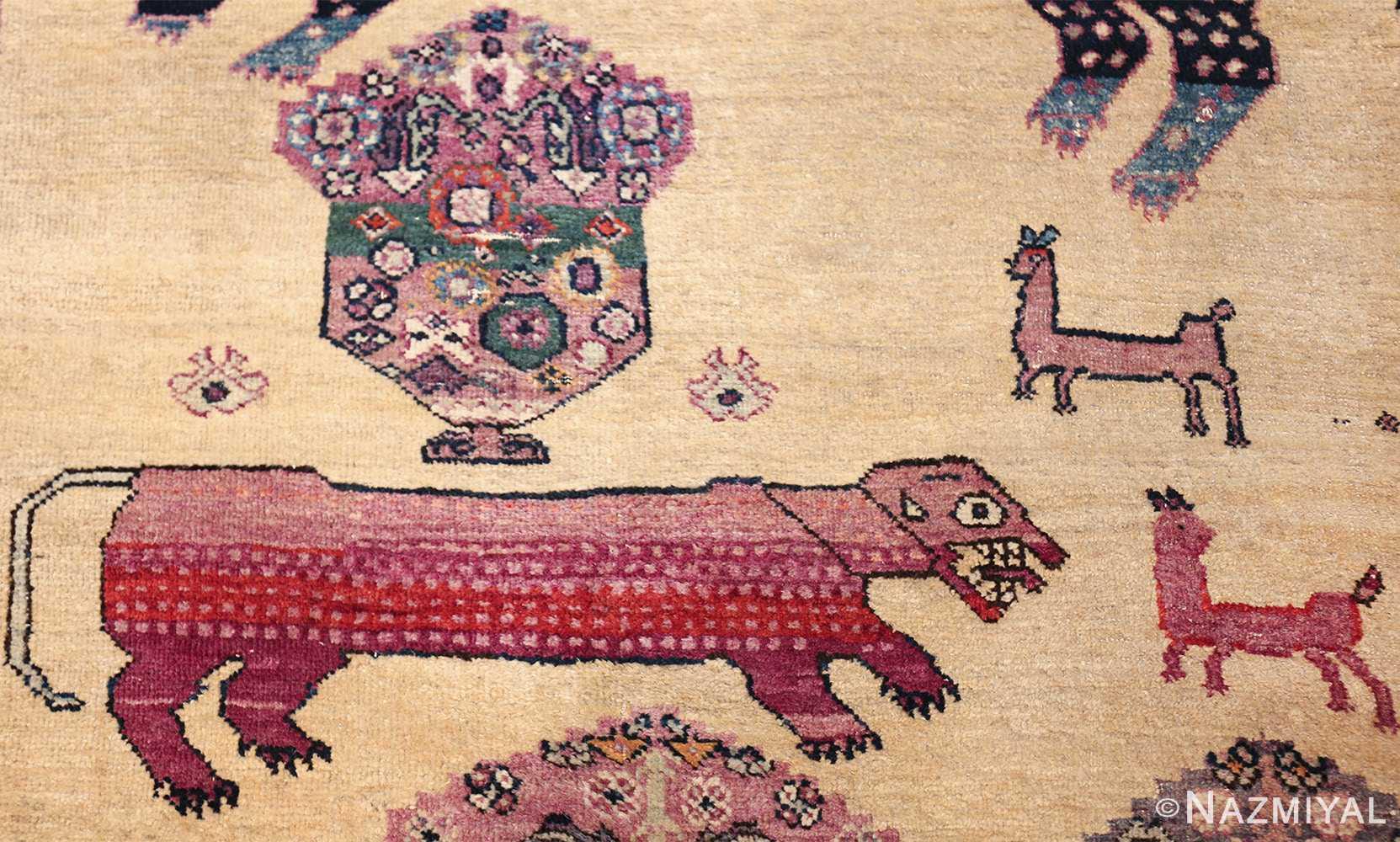 large animal motif antique farahan persian rug 49516 red tiger Nazmiyal