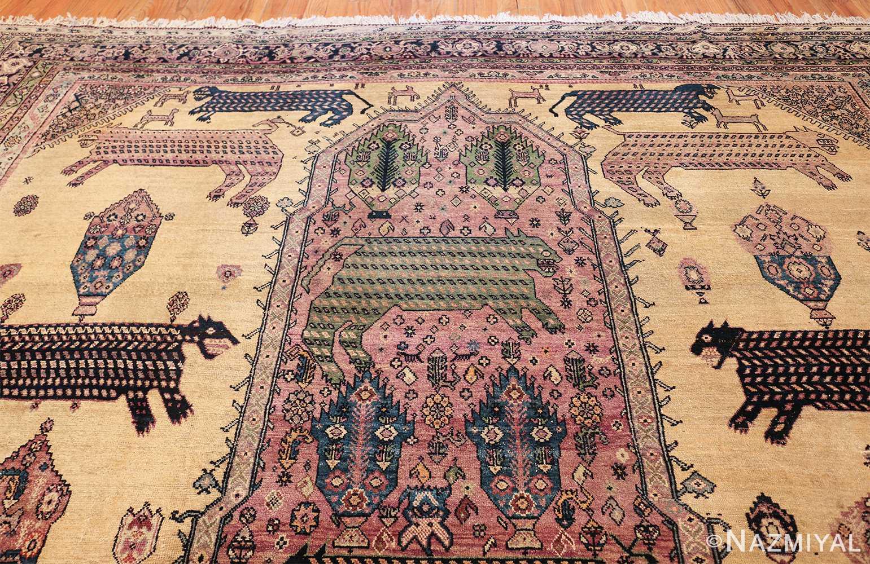 large animal motif antique farahan persian rug 49516 top Nazmiyal