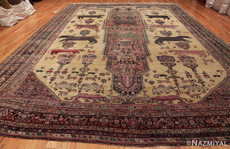 large animal motif antique farahan persian rug 49516 whole Nazmiyal