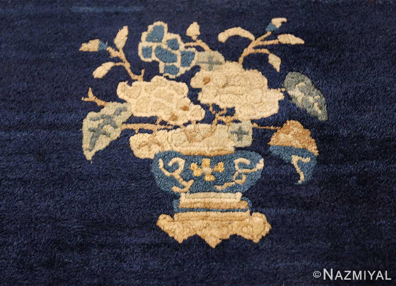 room size navy background antique chinese rug 49474 blue vase Nazmiyal