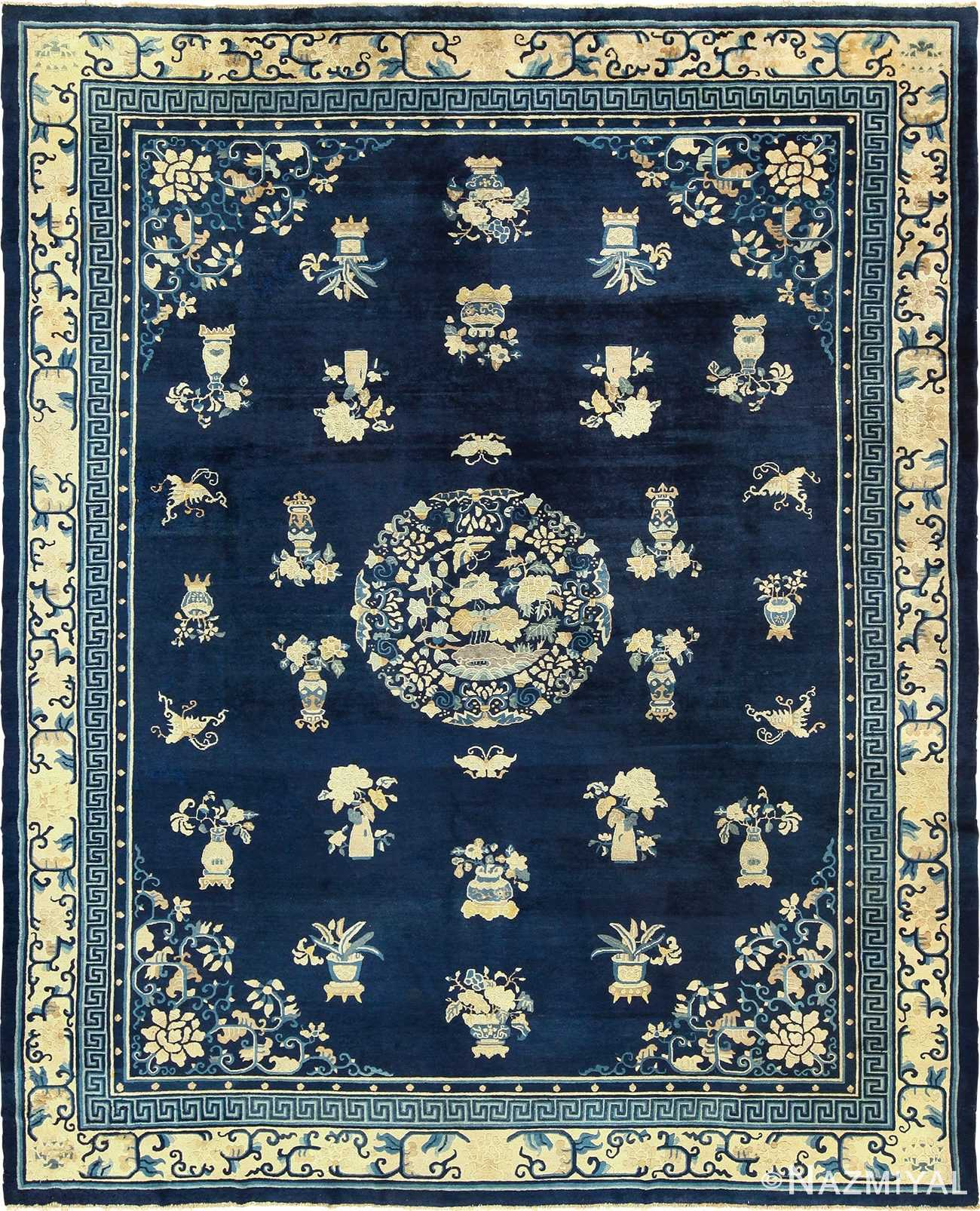 Room Size Chinese Blue and White Antique Peking Rug by Nazmiyal
