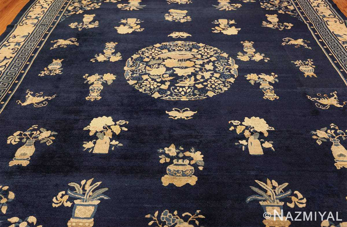 room size navy background antique chinese rug 49474 field Nazmiyal