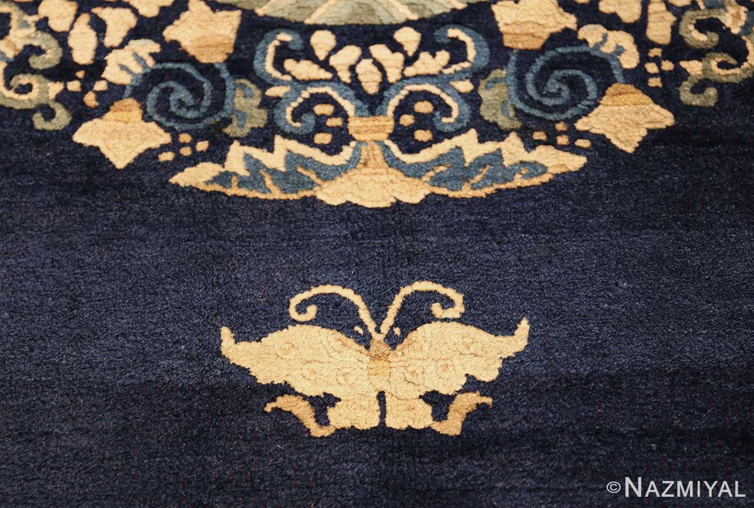 room size navy background antique chinese rug 49474 moth Nazmiyal