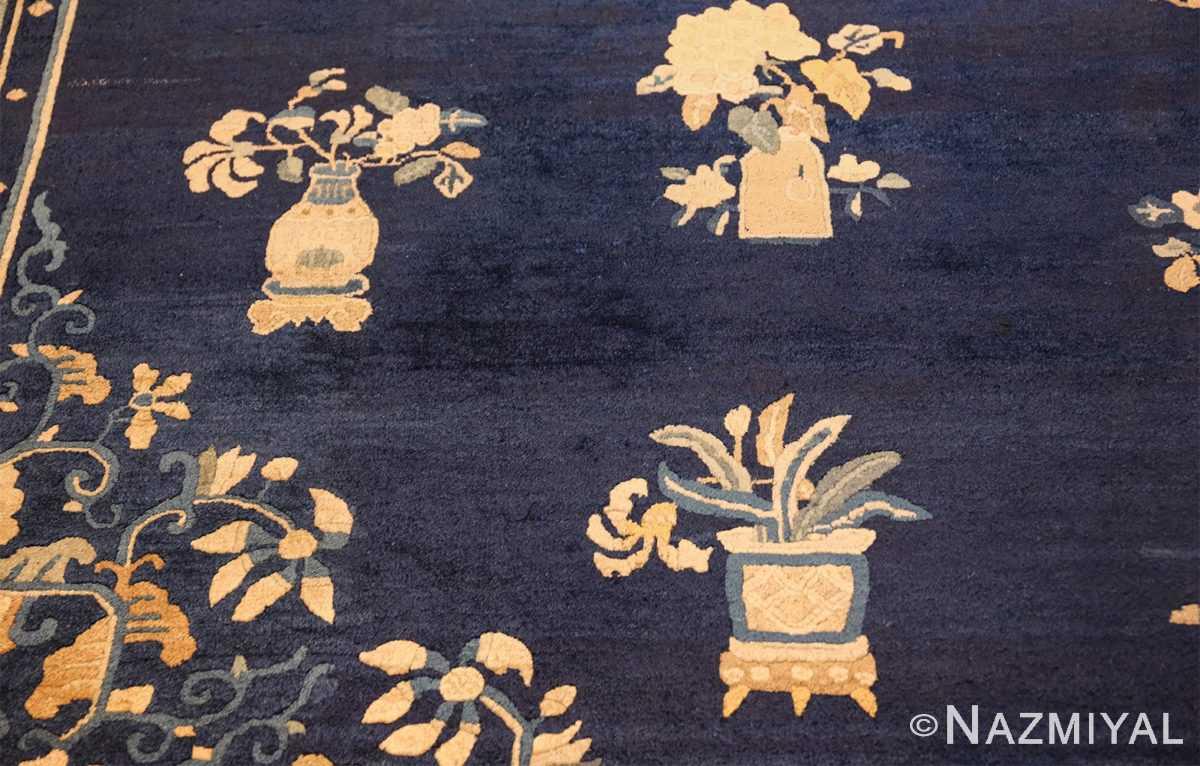 room size navy background antique chinese rug 49474 vases Nazmiyal