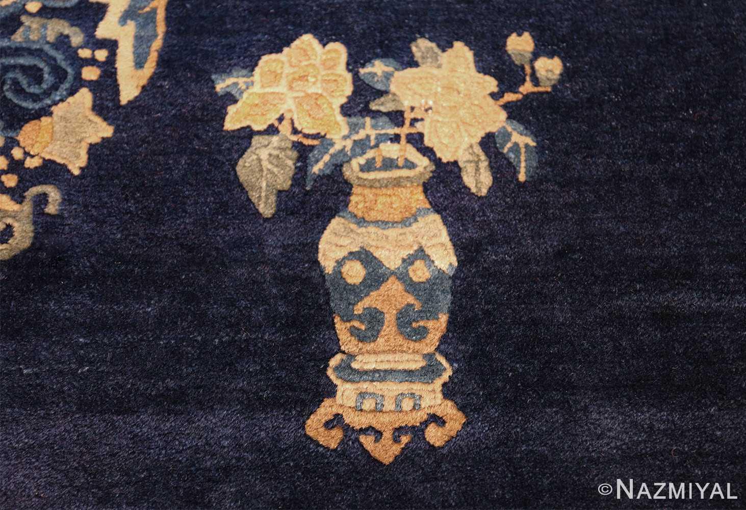 room size navy background antique chinese rug 49474 yellow rose Nazmiyal