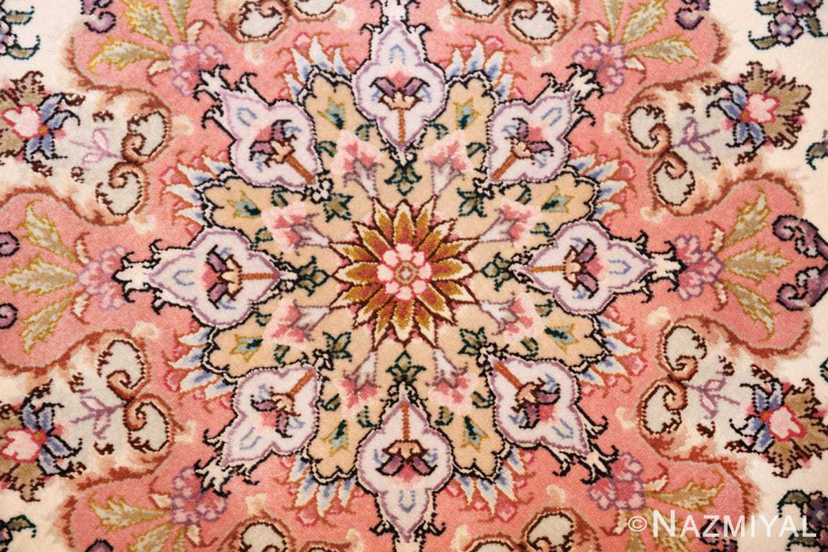 round silk and wool tabriz persian rug 49558 center Nazmiyal