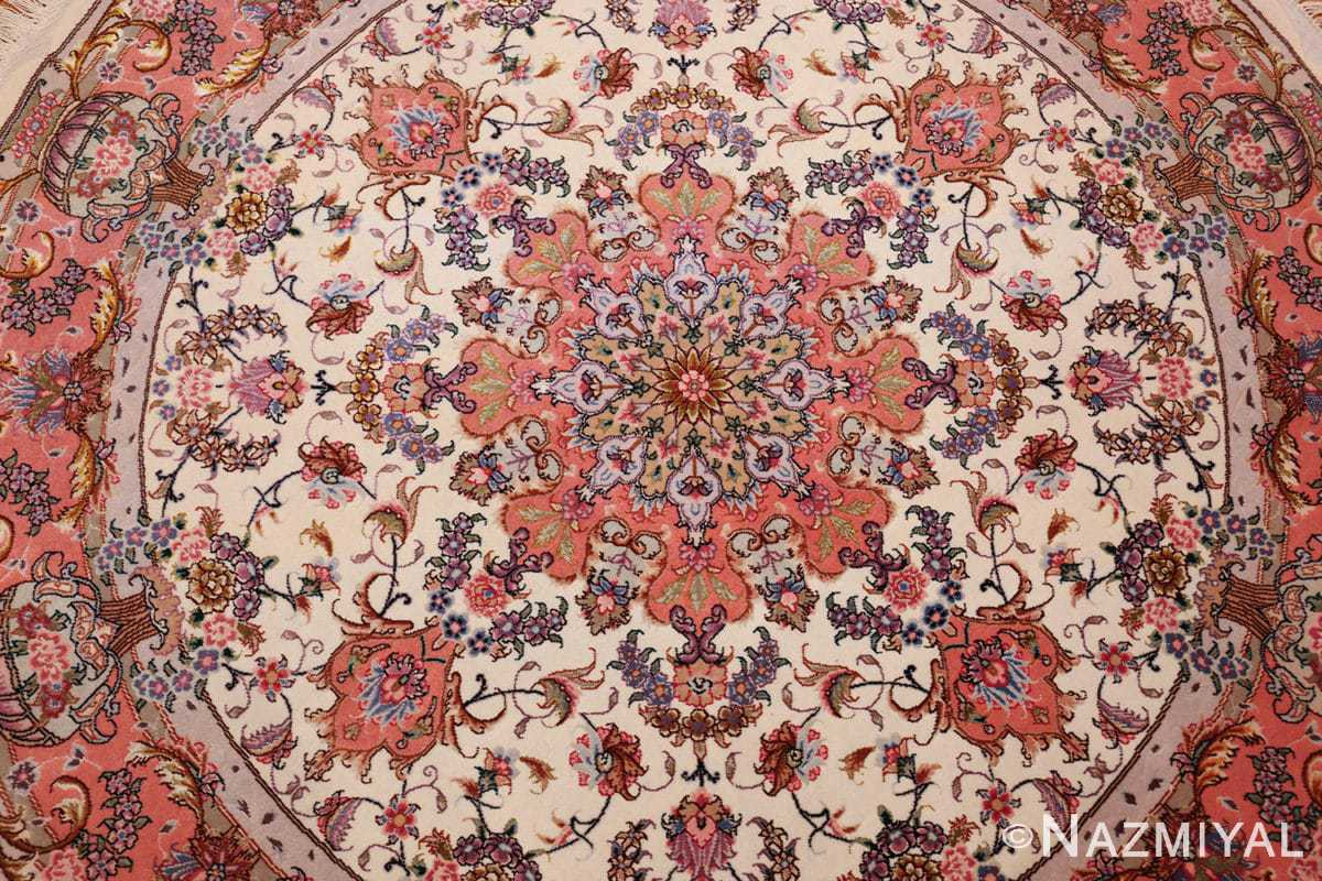 round silk and wool tabriz persian rug 49558 field Nazmiyal