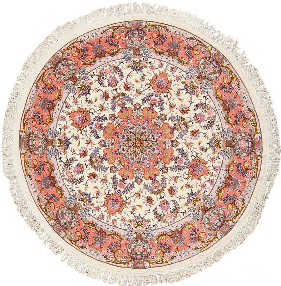 round silk and wool Persian Tabriz Rug 49558 Nazmiyal
