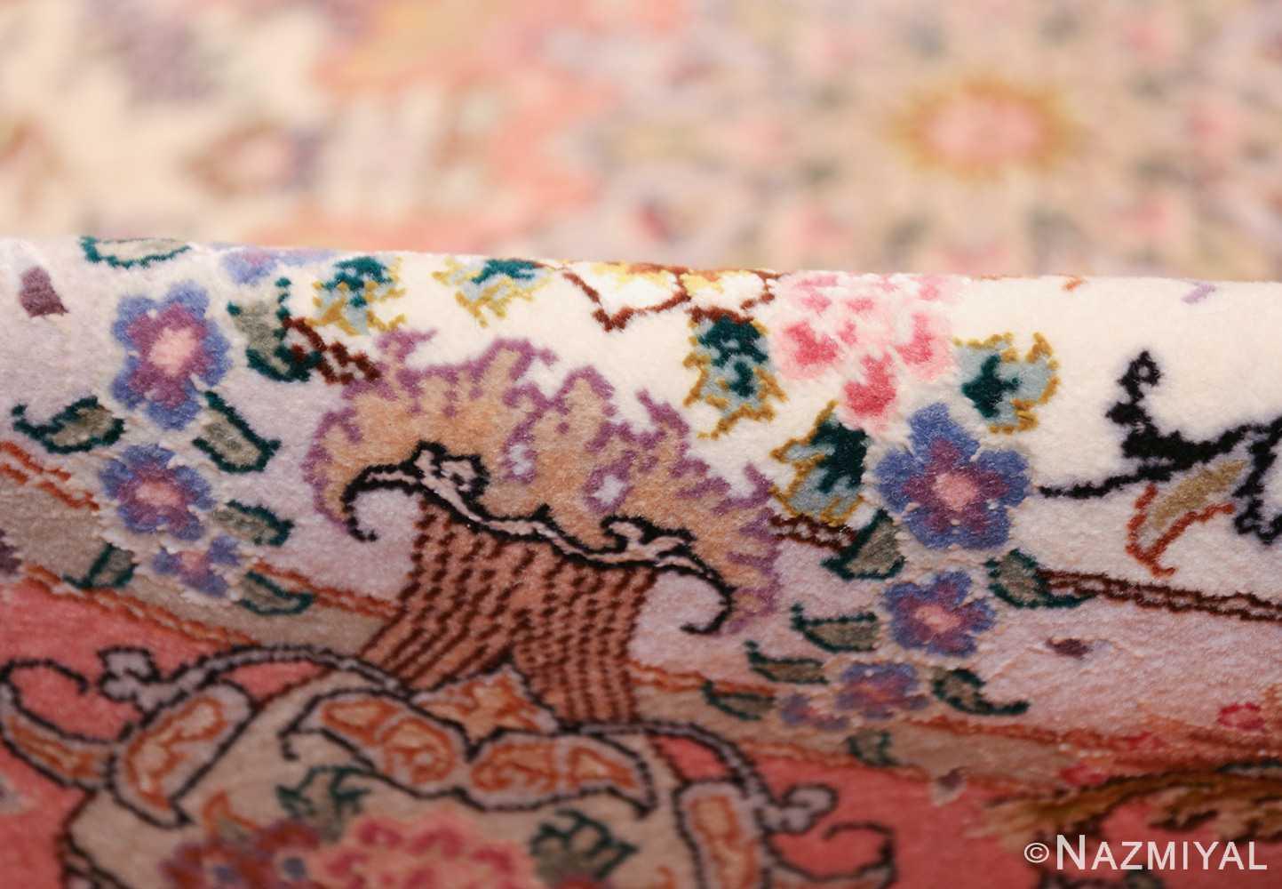 round silk and wool tabriz persian rug 49558 pile Nazmiyal