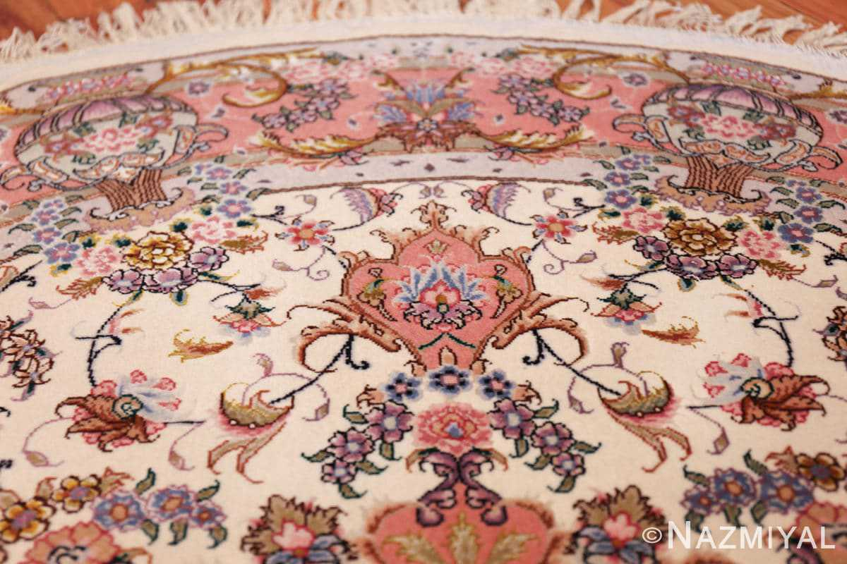 round silk and wool tabriz persian rug 49558 tiara Nazmiyal