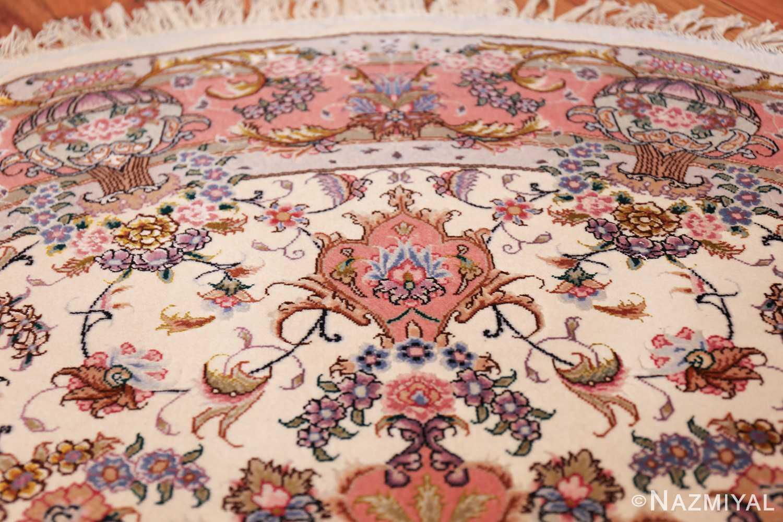 round silk and wool tabriz persian rug 49558 tiara Nazmiyal