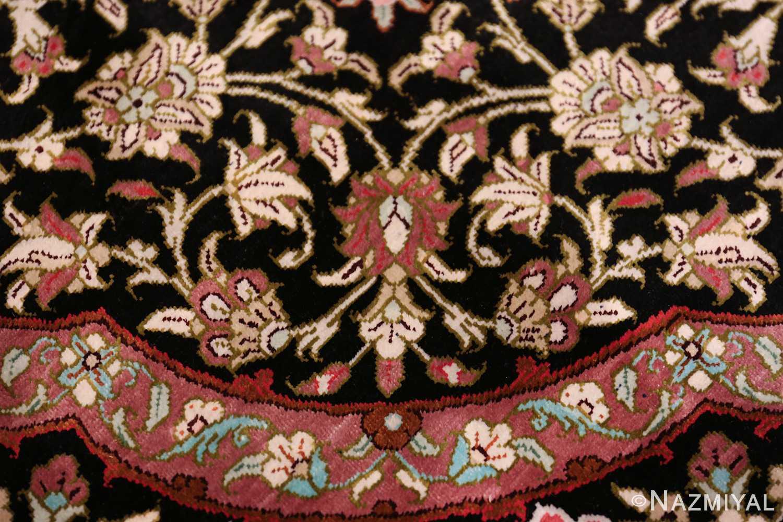 round silk black background tabriz persian rug 49557 border Nazmiyal
