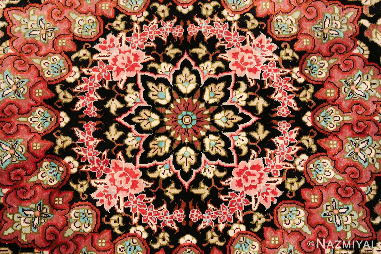 round silk black background tabriz persian rug 49557 center Nazmiyal