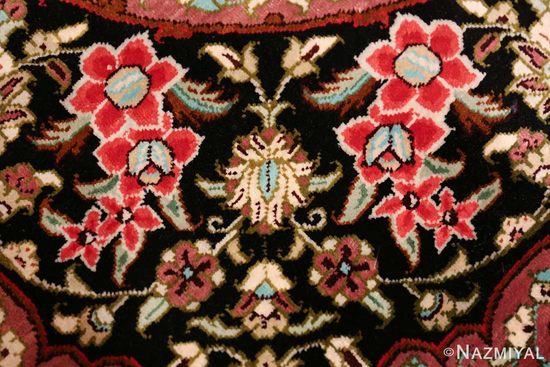 round silk black background tabriz persian rug 49557 design Nazmiyal