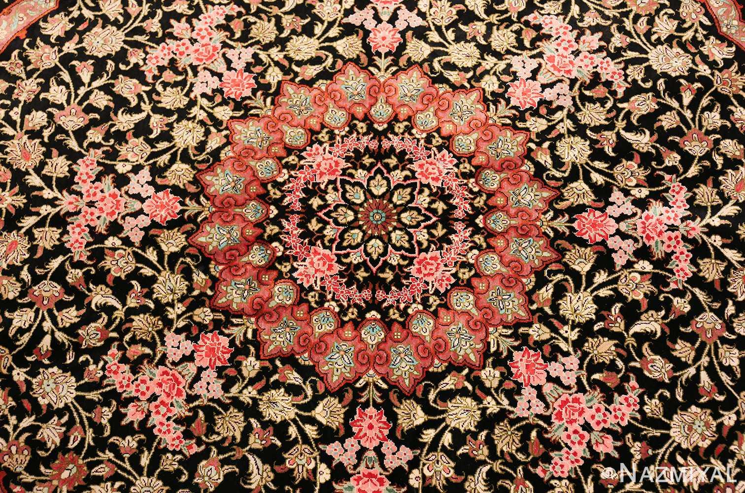 round silk black background tabriz persian rug 49557 field Nazmiyal