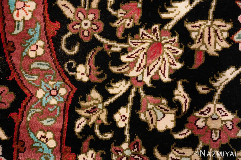 round silk black background tabriz persian rug 49557 ivory Nazmiyal