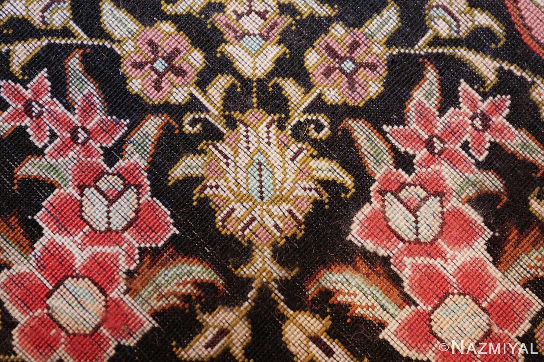 round silk black background tabriz persian rug 49557 knots Nazmiyal