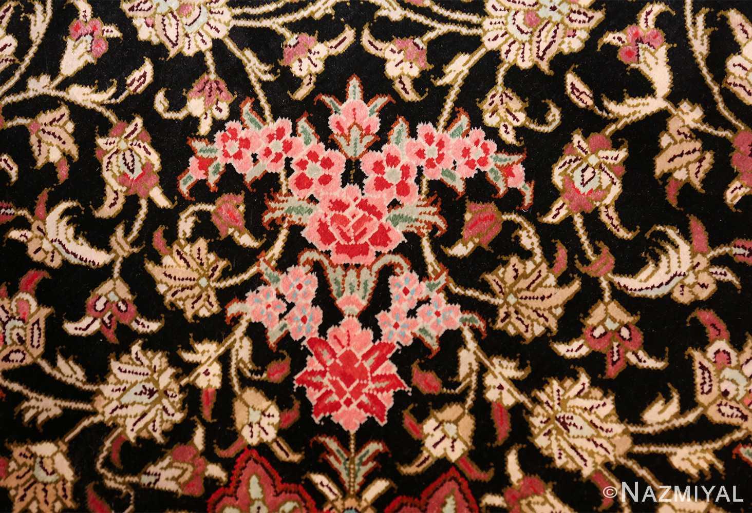 round silk black background tabriz persian rug 49557 red Nazmiyal