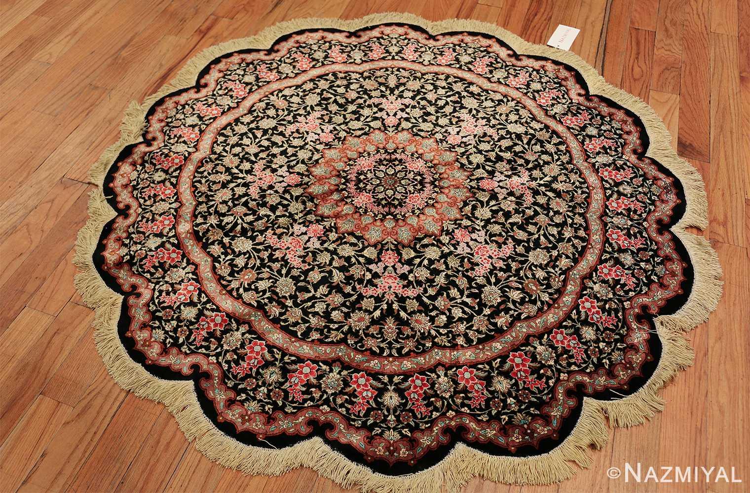 round silk black background tabriz persian rug 49557 whole Nazmiyal