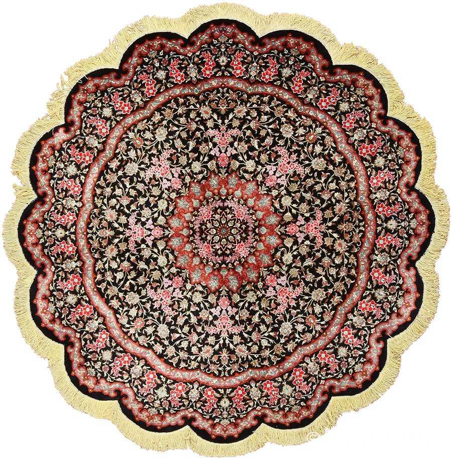 Modern Persian Tabriz Design Rug 44687 Nazmiyal Antique Rugs: Round Black Background Modern Silk Persian Tabriz Rug