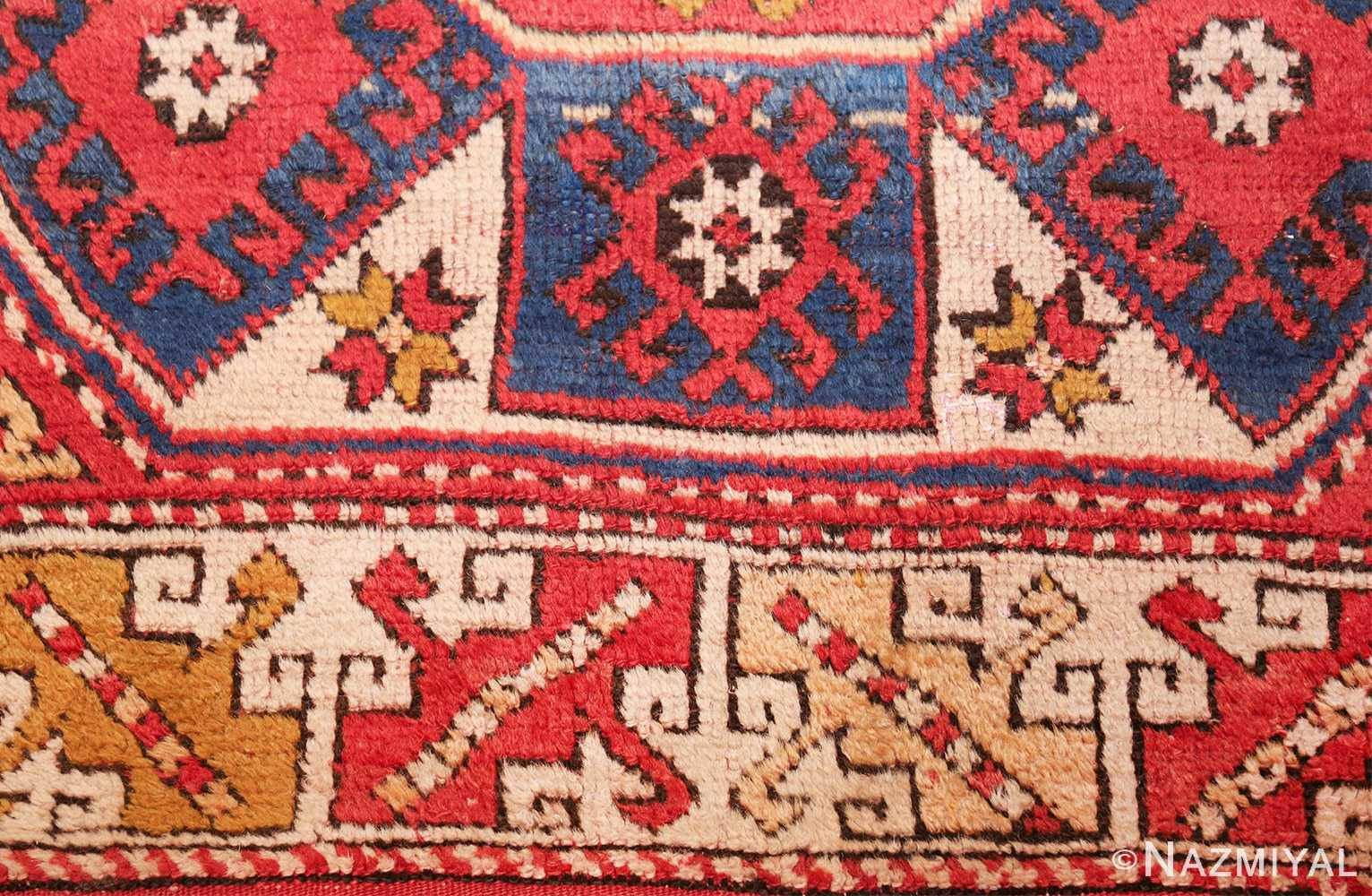 small scatter size tribal antique bergama turkish rug 49506 closeup Nazmiyal