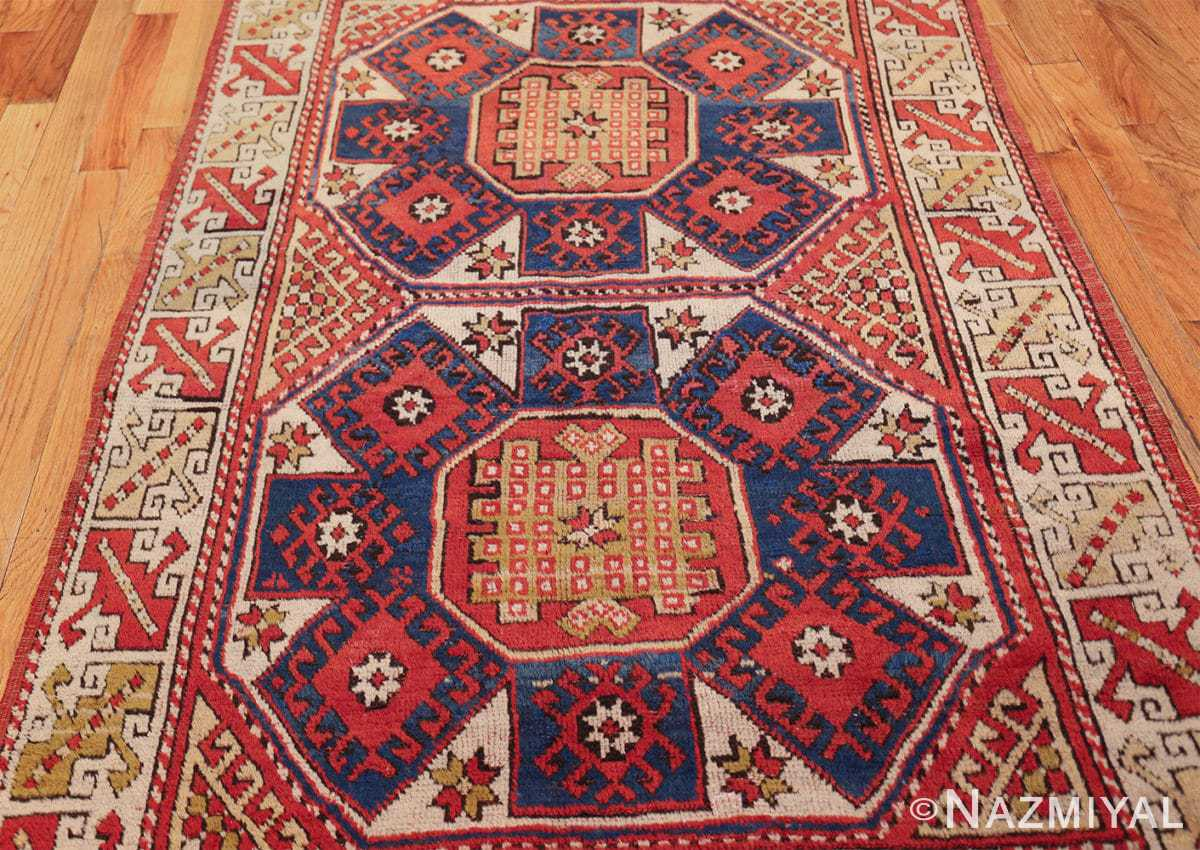small scatter size tribal antique bergama turkish rug 49506 field Nazmiyal
