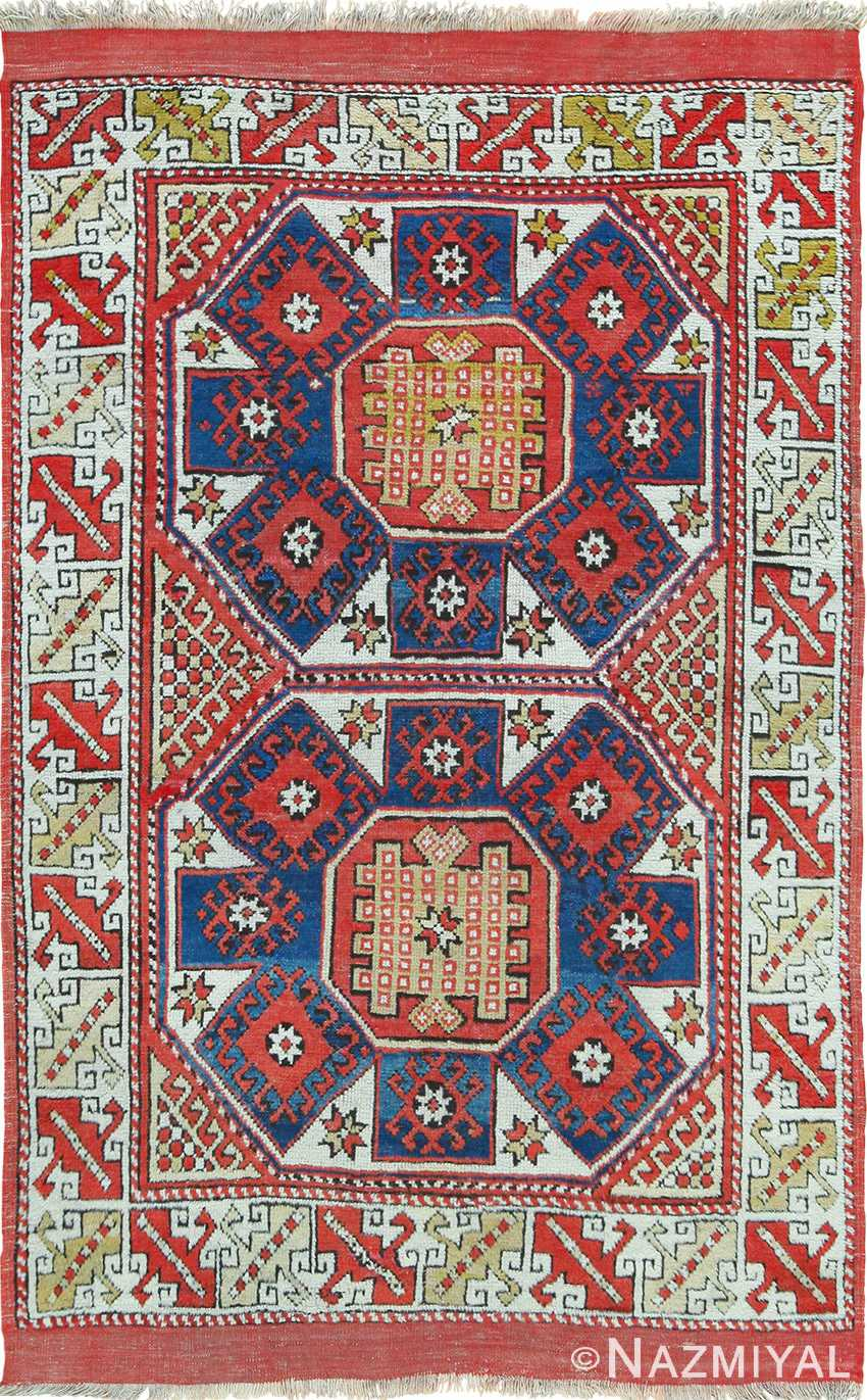 small scatter size tribal antique turkish bergama rug 87969
