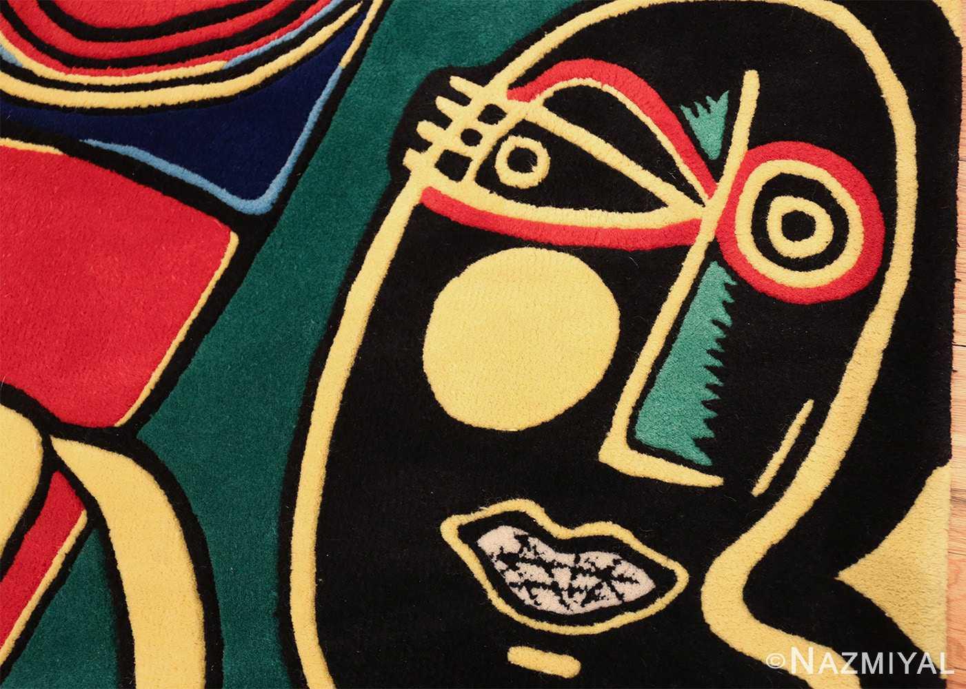 square vintage scandinavian rug by corneille 49544 eyes Nazmiyal