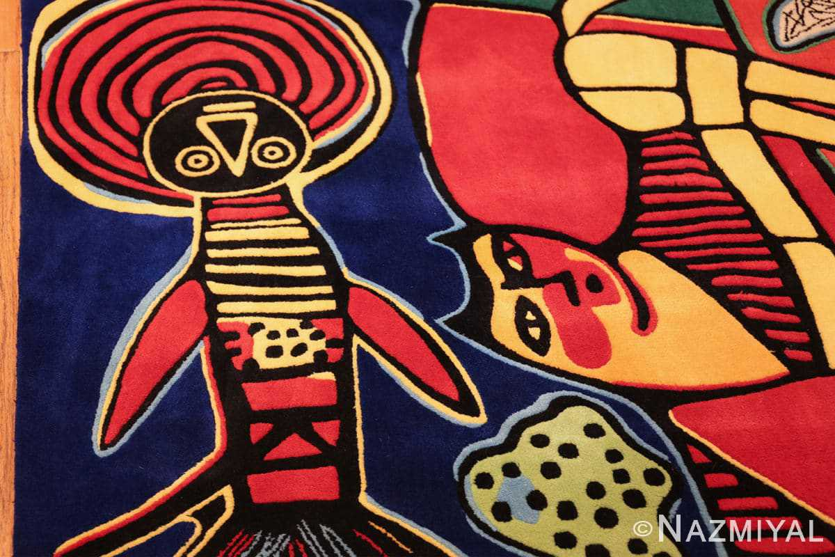 square vintage scandinavian rug by corneille 49544 fish Nazmiyal