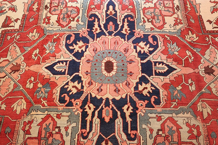 Antique Persian Heriz Rug Medallion Detail by Nazmiyal