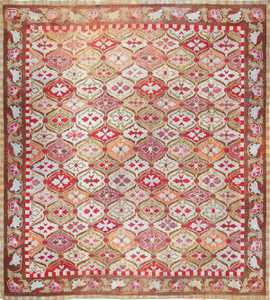 antique square french aubusson rug 47138 Nazmiyal