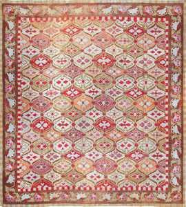 antique square french aubusson rug 47138 Nazmiyal