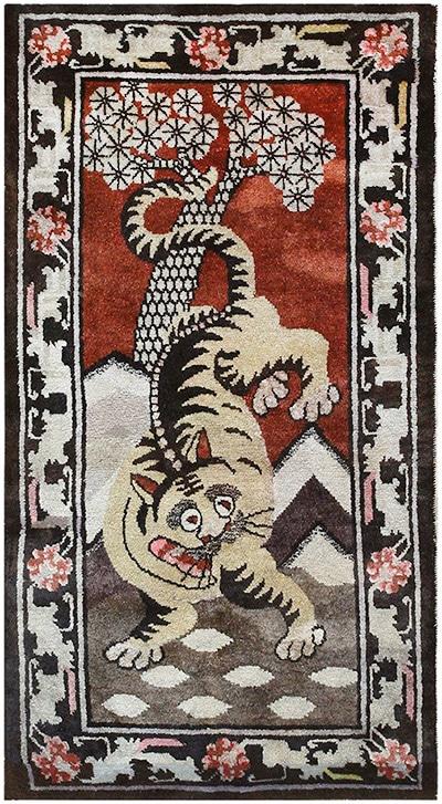 Antique Tibetan Tiger Rugs by Nazmiyal