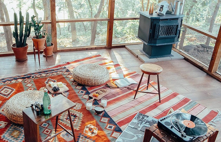 Flat Woven Kilim Bohemian Rugs In A Boho Chic Interior by Nazmiyal
